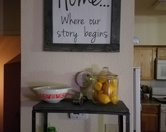 "Large ""Home...Where our story begins"" Sign"