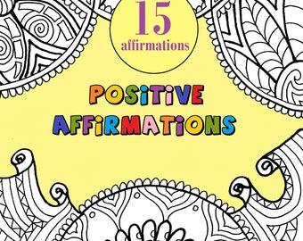 positive affirmations adult coloring book 15 printable digital download doodle art - Download Colouring Book