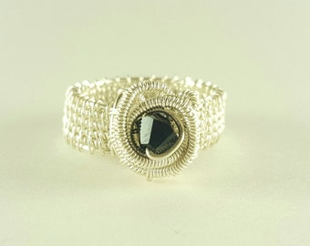 Silver wire woven black ring