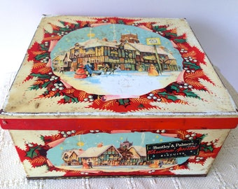 Vintage Large Huntley & Palmer's Xmas biscuit tin. Collectable tins/Biscuit tins/advertising tins.