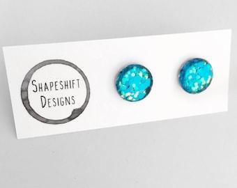 12mm Glass Glitter Stud Earrings - Blue