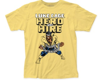 Luke Cage hero for hire fitted jersey tee (LC01) yellow