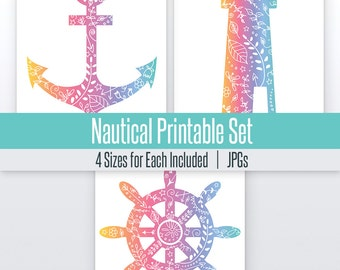 Anchor, Ship Wheel, Lighthouse Nautical Art Set | 4 Sizes | Printable |  Art