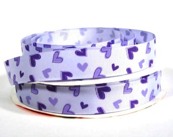 "7/8"" Purple Hearts on Lavender Printed Grosgrain Ribbon"