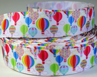 "1"" Colorful Hot Air Balloons - Printed Grosgrain Ribbon"