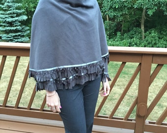 Fleece Cape/Wrap/Shawl With Beading