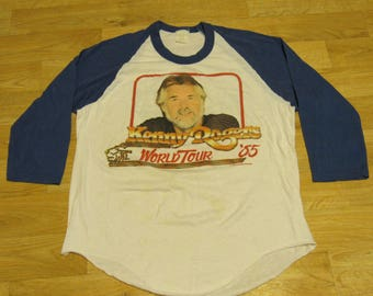 Vintage Kenny Rogers World Tour 85 shirt Raglan 80s