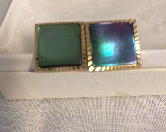 Vintage 60s blue-tone finish and gold men's cuff links