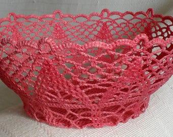 Crochet Cotton Lace Basket HandMade