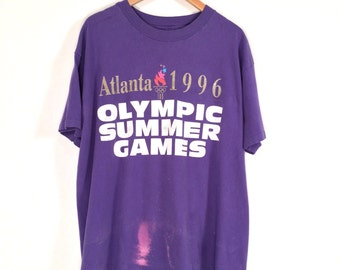 90s Atlanta Olympics Promo T-Shirt. Altanta 1996 Olympic Summer Games Oversized Print Tee by ACOG 1992.