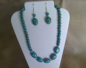 164 Stunning Turquoise Mosaic Assembled and Dyed Beaded Necklace Set