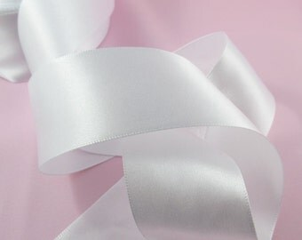 5mtr of 38mm Wide White Satin Bridal Ribbon Wedding Car Ribbon Bows Crafting (CE013)