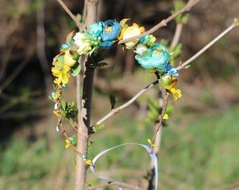 Floral crown Boho flower crown wedding flower crown bridal floral crown bridal flower crown woodland head wreath girl floral crown turquoise