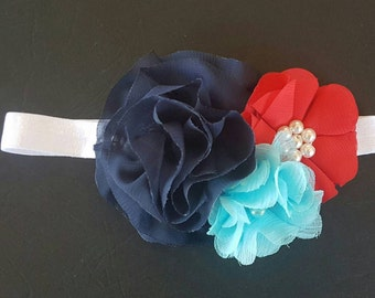 Girls navy, red and blue headband | headband | baby headband | soft headband | Flower headband | Girls headband