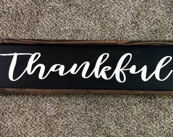 Thankful Wood Sign   Handpainted   Thanksgiving Gift   Wedding Gift   Birthday Gift