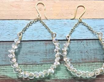 Crystal drops hoops