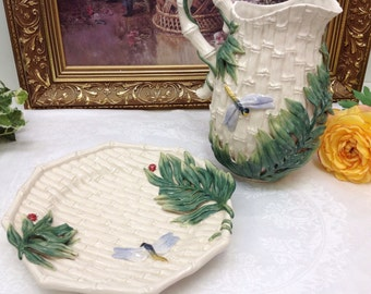 Fitz and Floyd bamboo pitcher and canape plate.