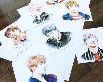 BTS Mini Watercolour Art Prints [방탄소년단]