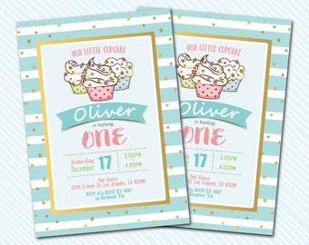Digital Printable Cupcake Birthday Invitation. Girl Birthday.