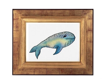 Whale Wall Art, Abstract Whale Print, Abstract Blue Whale Painting, Blue Whale Decor, Ocean Art, Whale Painting Print, Watercolour Whale