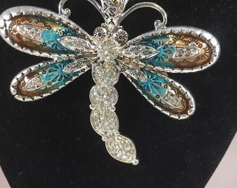 Crystal Navajo Mosaic Turquoise Dragonfly Necklace