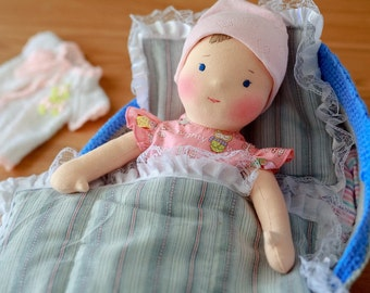 Waldorf doll Lena and her cozy bed!