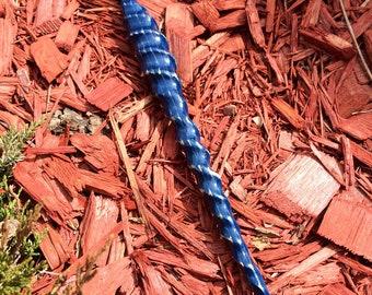 Blue Spiral Wooden Hairstick // Unicorn Horn // Handcarved // Cedar Hair Stick // Whimsical