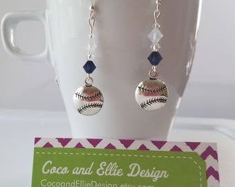 blue and white baseball earrings/new york yankees earrings/ny yankees earrings/yankees jewelry/yankees earrings/yankees jewelry