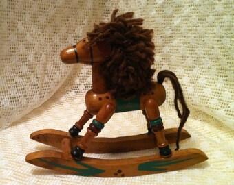 Wooden Rocking Horse Christmas Decoration