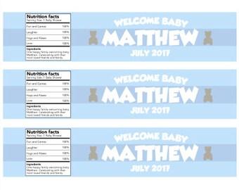 Blue Boy Baby Shower Water Bottle Labels Digital