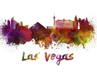 Las Vegas skyline watercolor canvas, Las Vegas Canvas Print, Las Vegas wall art, Canvas Wall Art, Watercolor Skyline, Gift Ideas, Watercolor