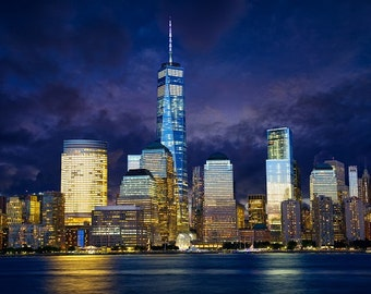 Canvas art print, Manhattan skyline at night , New York City, Wall canvas, 3 panels canvas or SINGLE panel, New York wall art on canvas
