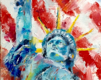 Statue of Liberty Painting Independence Day Art American Patriotic Painting Oil Painting Impasto Painting Palette Knife Painting Impression