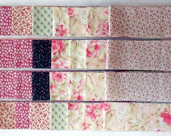 "Jelly Roll -40ct. Precut 2.5"" strips/tiny floral/flowers/vines/calico/pink/red/green/cream/tan/beige/peach/mint (#JR1)"