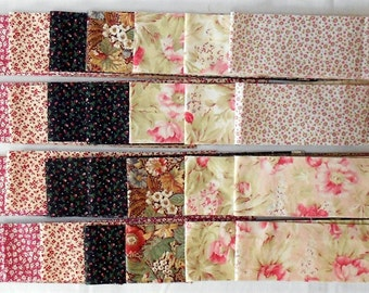 "Jelly Roll -40ct. Precut 2.5"" strips/tiny floral/flowers/vines/calico/pink/peach/red/yellow/green/black/tan/brown/cream/ivory (#JR3)"