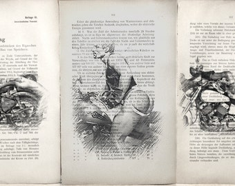 Gay erotic poster  / muscular mens nude on a motorcycle   / 3 pages printing Antique 1914  German book  decor interior picture ART erotic