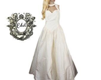 PRECIOUS pure silk fairytale wedding dress bridal dress champagne Gr. 38.40