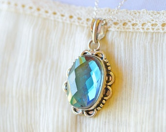 Sparkly Blue Jewel Solitaire Necklace, Ornate Silver Setting Faceted Oval Pendant, Mirror Under the Sea