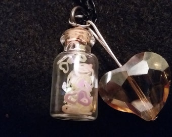 Tiny jar charm necklace with white hearts