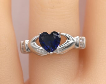 Claddagh Ring/ Blue Claddagh Ring/Silver Ring/ Sterling Silver Blue CZ Claddagh Ring S116