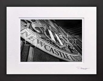 Newcastle United, Black White mounted photo print, st james park, Fine art photography, cityscape print, black white art, Newcastle emblem