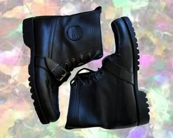 Vintage Combat Boots Strappy Leather Lace Up Boots Grunge Boots Ralph Lauren Shoes