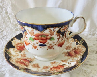Collingwoods Bone China Footed Teacup and Saucer Cobat Blue & Orange Imari Style Pattern 5126 (see description)