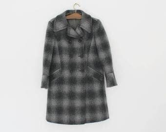 SALE Pure Wool Mohair Long Coat Made in England Vintage Women Coat Dark Grey Coat Ladies Jacket Coat Size Medium Trench Coat