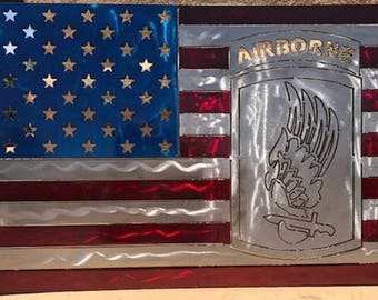 "American Flag Metal sign with 173rd Airborne Brigade insignia- ""Sky Soldiers"""