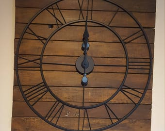 Wall Clock Large Rustic