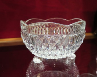 Easter Candy Diamond Point Clear Bowl Bon Bon Indiana Glass Scalloped Rim Medium 3 Feet