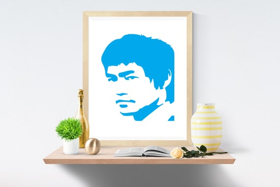 Bruce Lee, Sky Blue, Blue Print, Blue Prints, White Print, White Prints, Wall Art, Art Print, Printable Art, Wall Prints, Modern Art