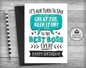 Boss Birthday Card | Card for Boss | Boss Appreciation Card | Boss Birthday | Instant Download | Best Boss | Printable Cards | Greeting Card
