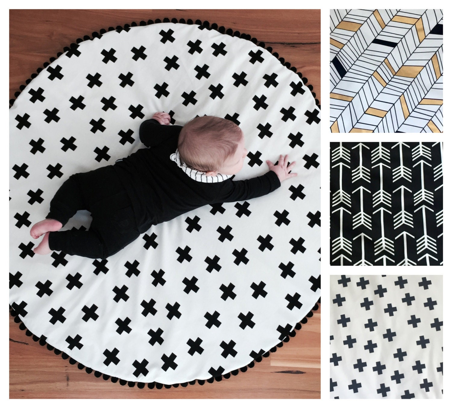 Beautiful black cross handmade baby children s padded